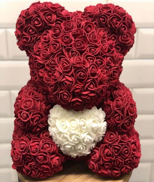Red Rose's bear with white heart - Arabian Petals
