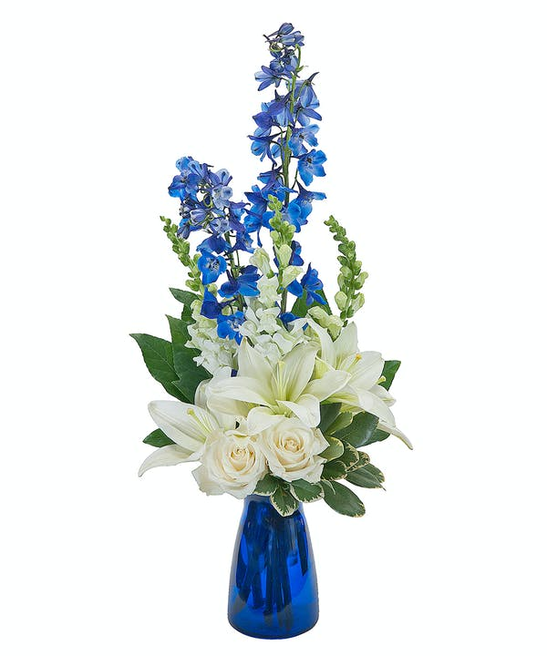 Blue and  White Roses Mix Flowers Vase - Arabian Petals