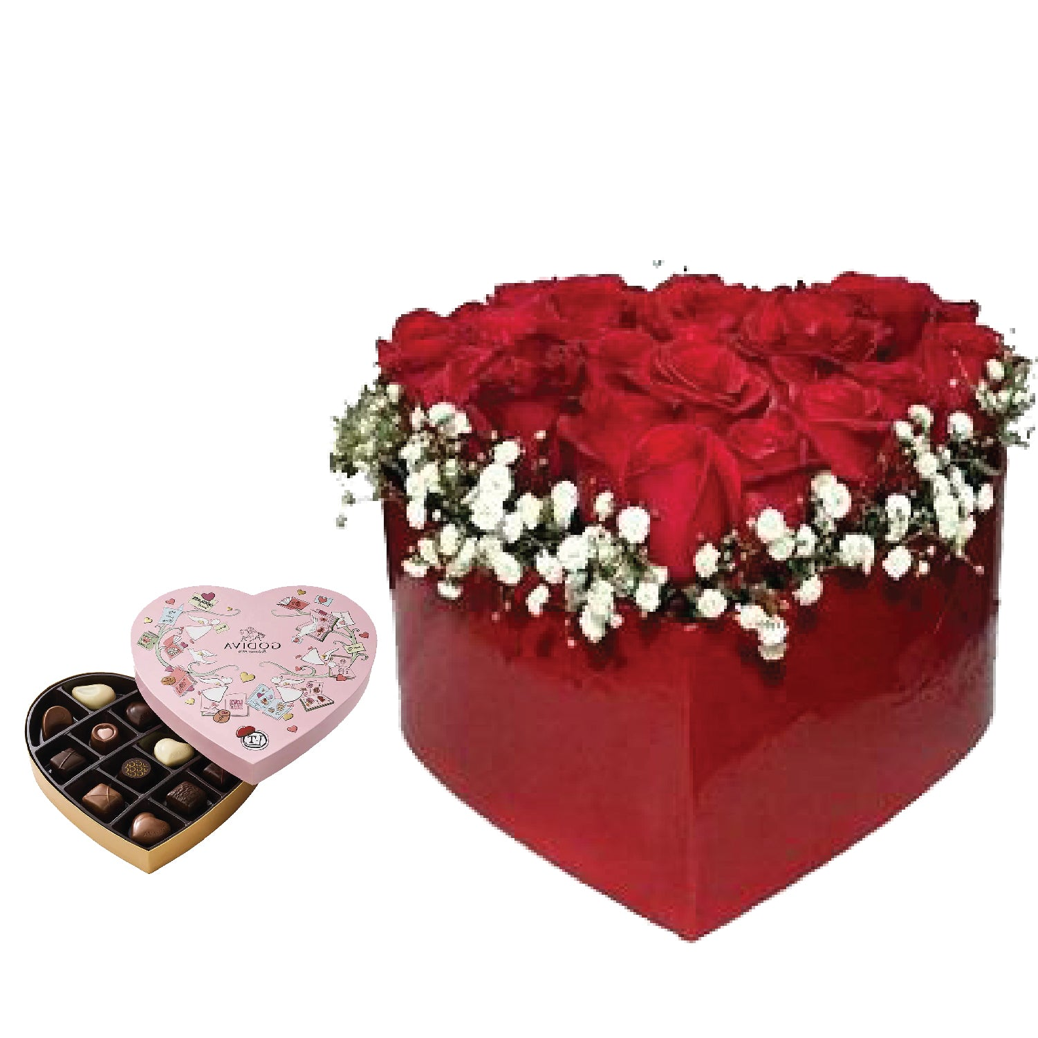 Affection  One Box of Godiva Heart Chocolate Gift Box - Arabian Petals