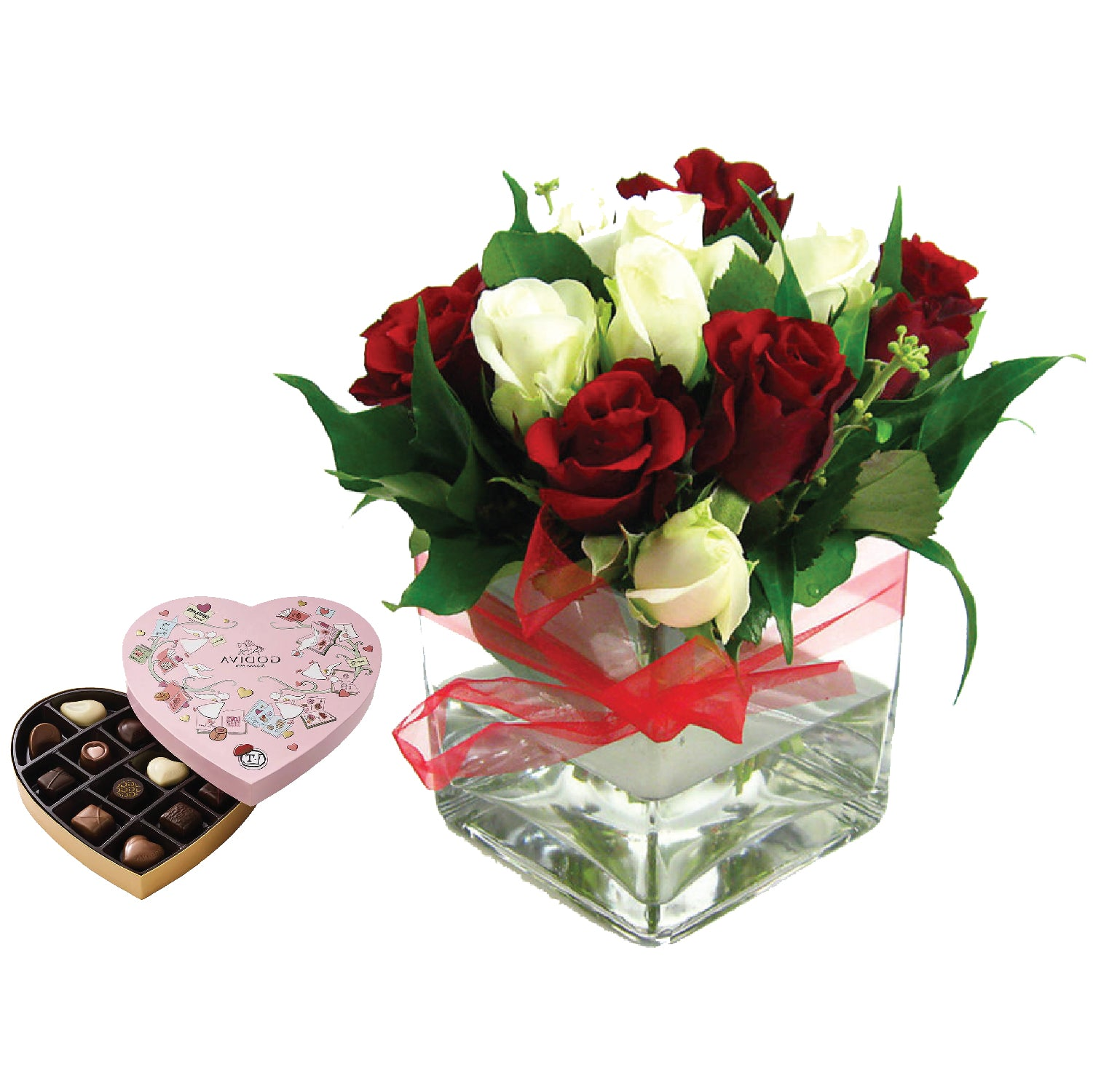 Red & White Rose Vase - Godiva Heart Chocolate Gift Box - Arabian Petals