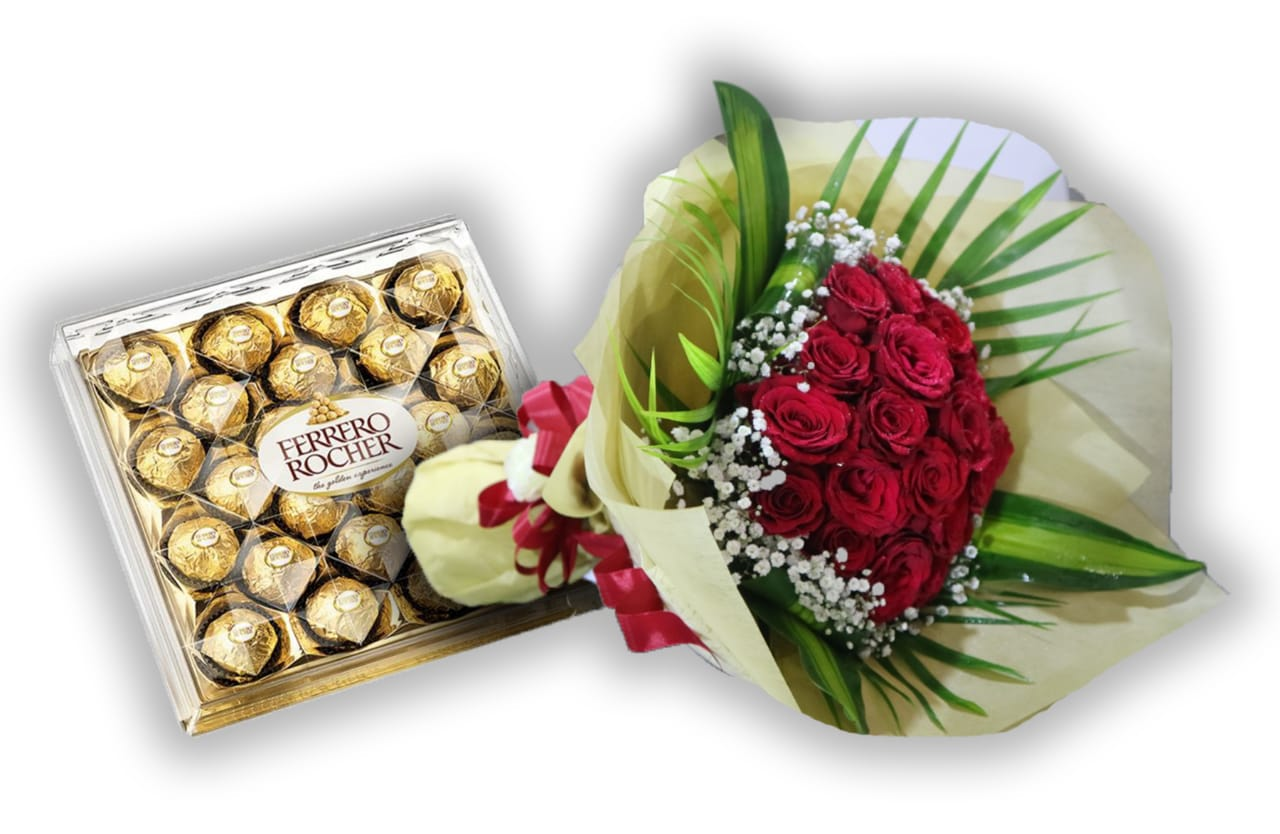 Bouquet of Red Roses with Chocolate - Arabian Petals