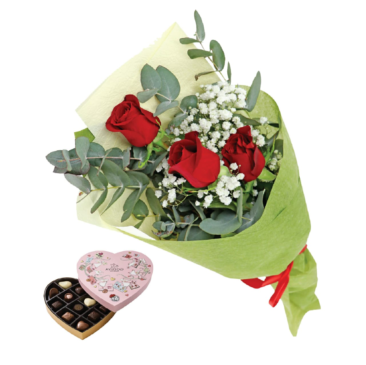 Rose's & Valentine's Day Heart Chocolate Gift Box