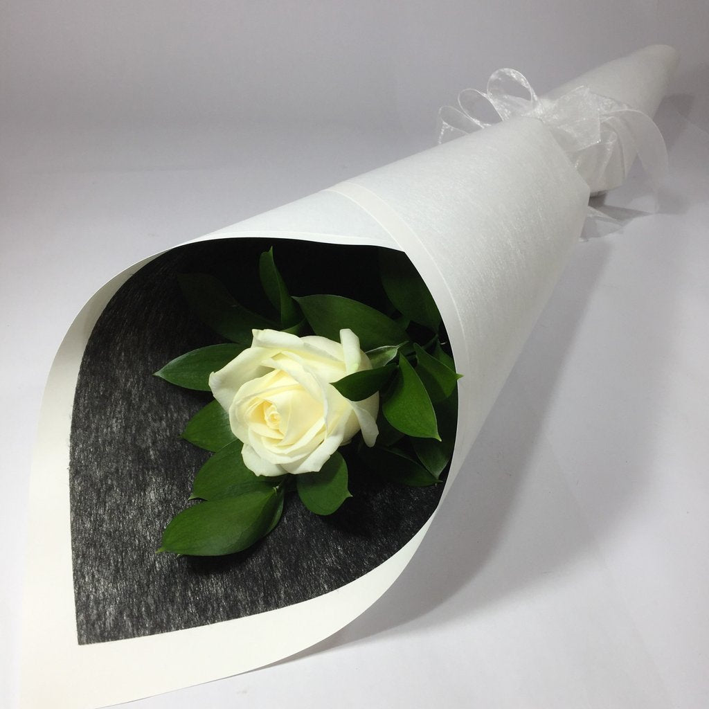 Single  Rose with Beautiful Wrap and Ribbon - Arabian Petals