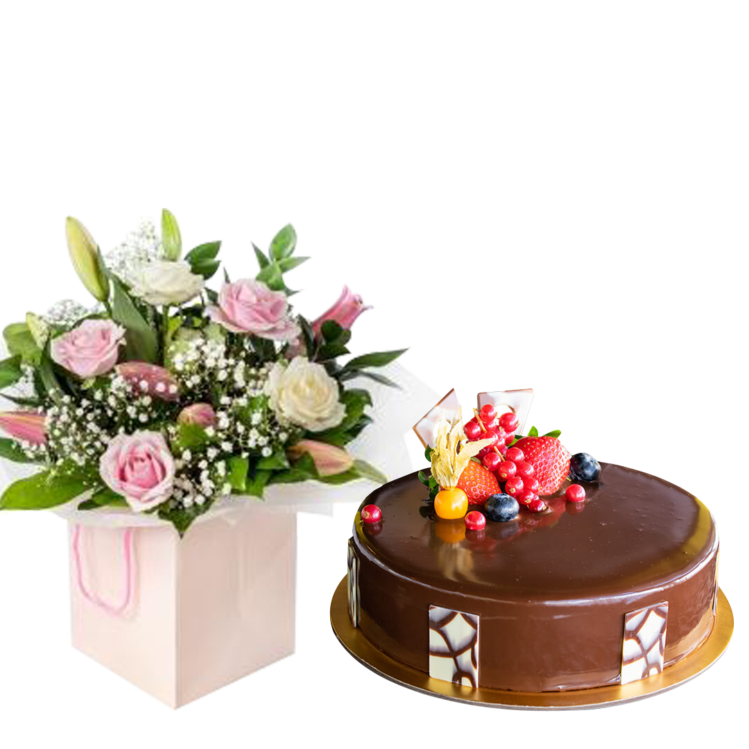 Magnificent Pink Rose with Lily  & Choco Truffle - VD