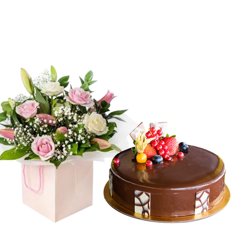 Magnificent Pink Rose with Lily  & Choco Truffle