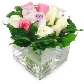 Mixed Pastel Rose Vase - FWR - Arabian Petals