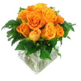 Orange Rose Vase - FWR - Arabian Petals