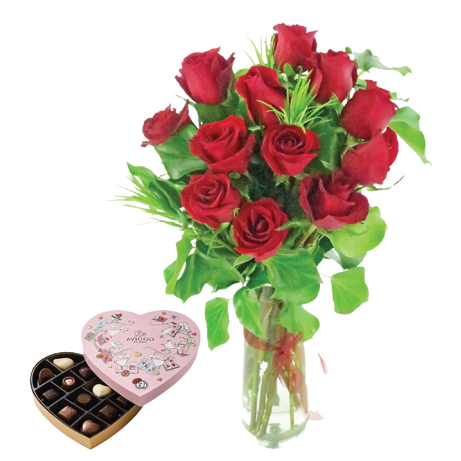 12 Rose Vase with  GODIVA Heart Chocolate Gift Box
