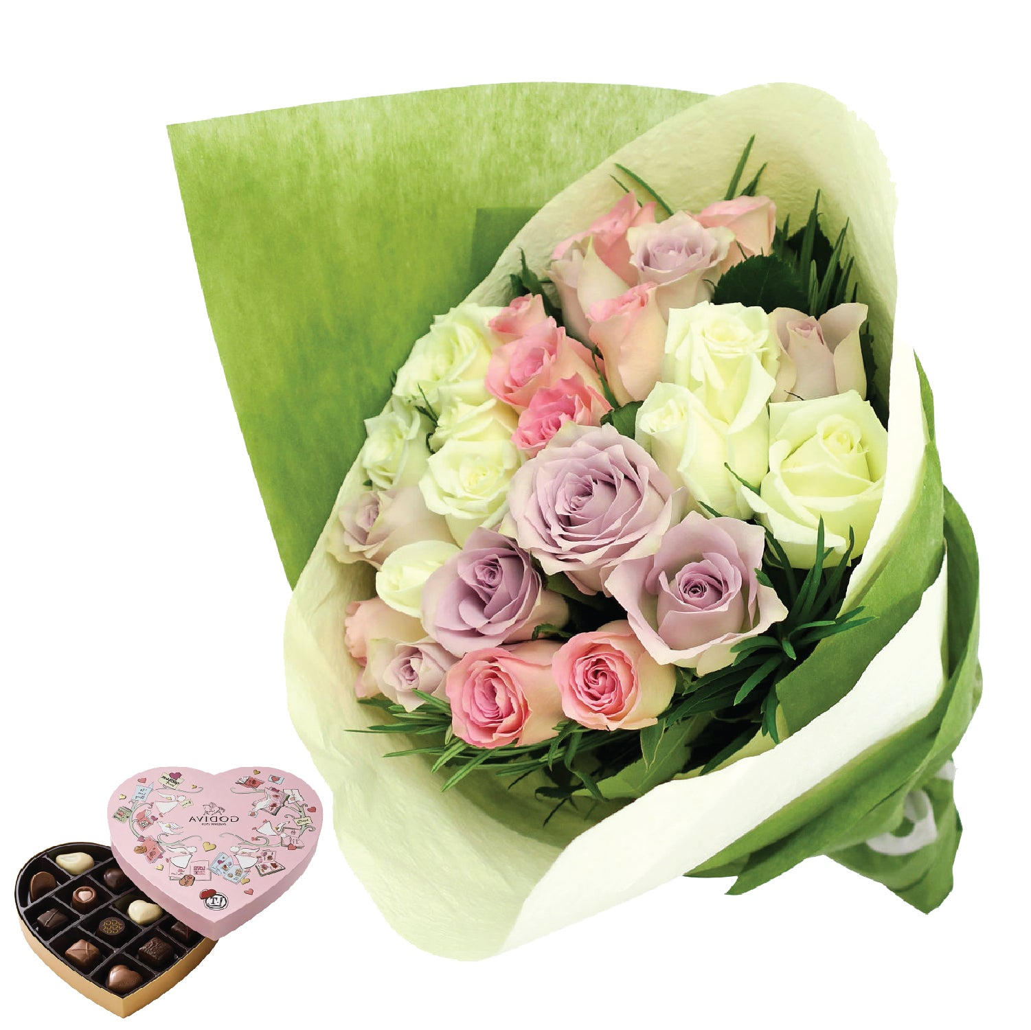 Pastel Roses - Godiva Heart Chocolate Gift Box