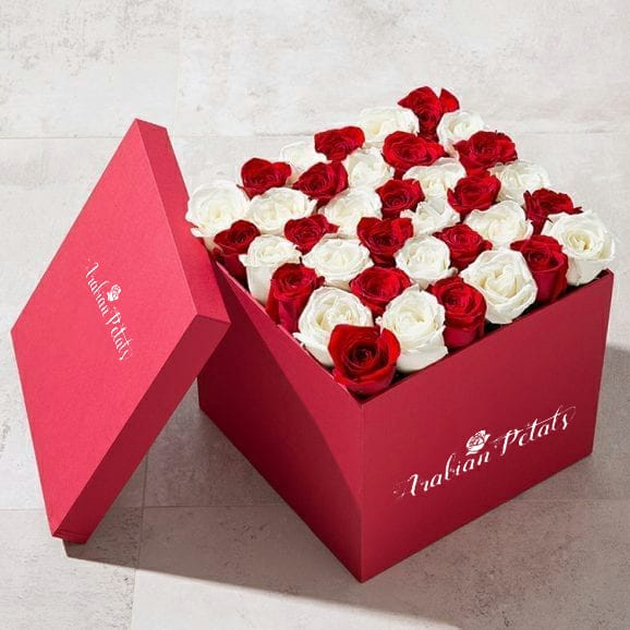 Red & White Roses - Red Square Box