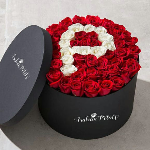 Red & White Letter Roses  - Round Box - Arabian Petals