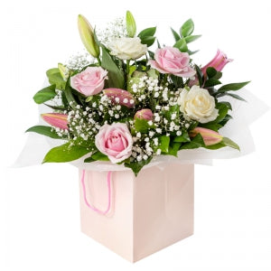 White & Pink Roses with Pink Lilies Box - Arabian Petals