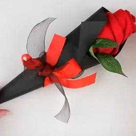 Single  Rose with Beautiful Wrap and Ribbon