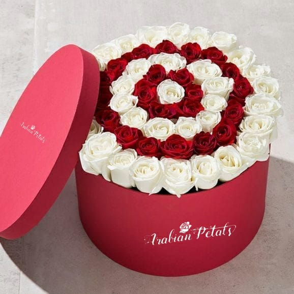 Red & White Roses  - Round Box - Arabian Petals
