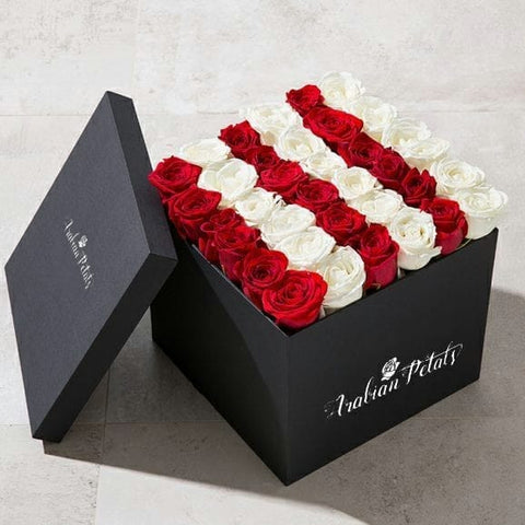 Red & White Roses - Square Box - Arabian Petals