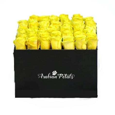 Yellow Roses  -Square Box - Arabian Petals