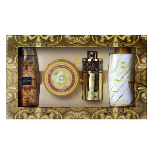 Ajmal Aurum Gift Set For Women (Aurum Spray 75ml EDP + 200g Body Butter + 200ml Shower Gel + 100g Aurum Powder) - Arabian Petals