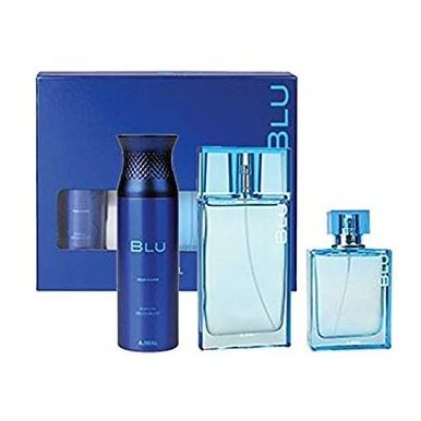 Ajmal Blu Gift Set For Men (BLU 90ml Cologne + BLU 200ml Deodorant + BLU Spray 90ml EDP) - Arabian Petals