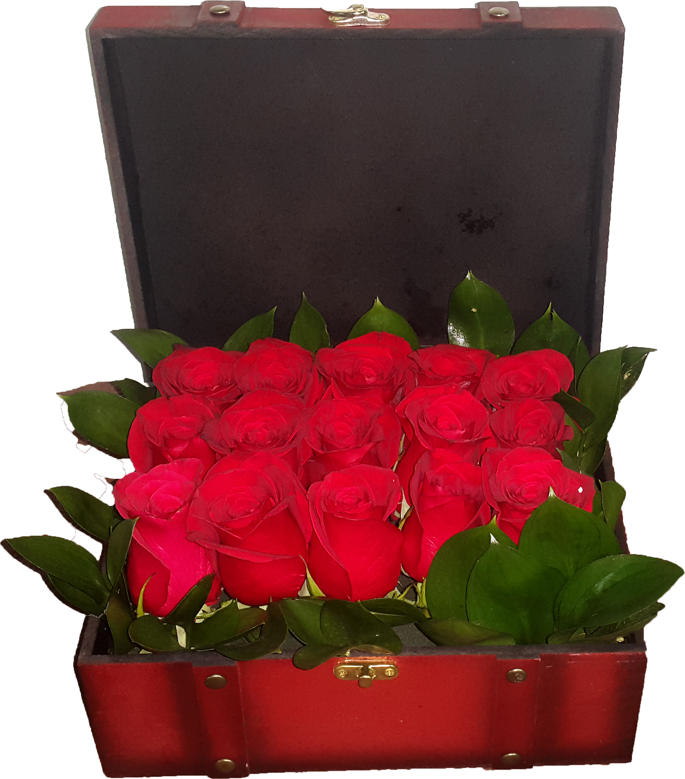 Treasure Box Arrangement of 15 Red roses - VD - Arabian Petals