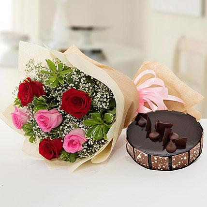 Beautiful Roses Bouquet With Chocolate Fudge Cake - Arabian Petals