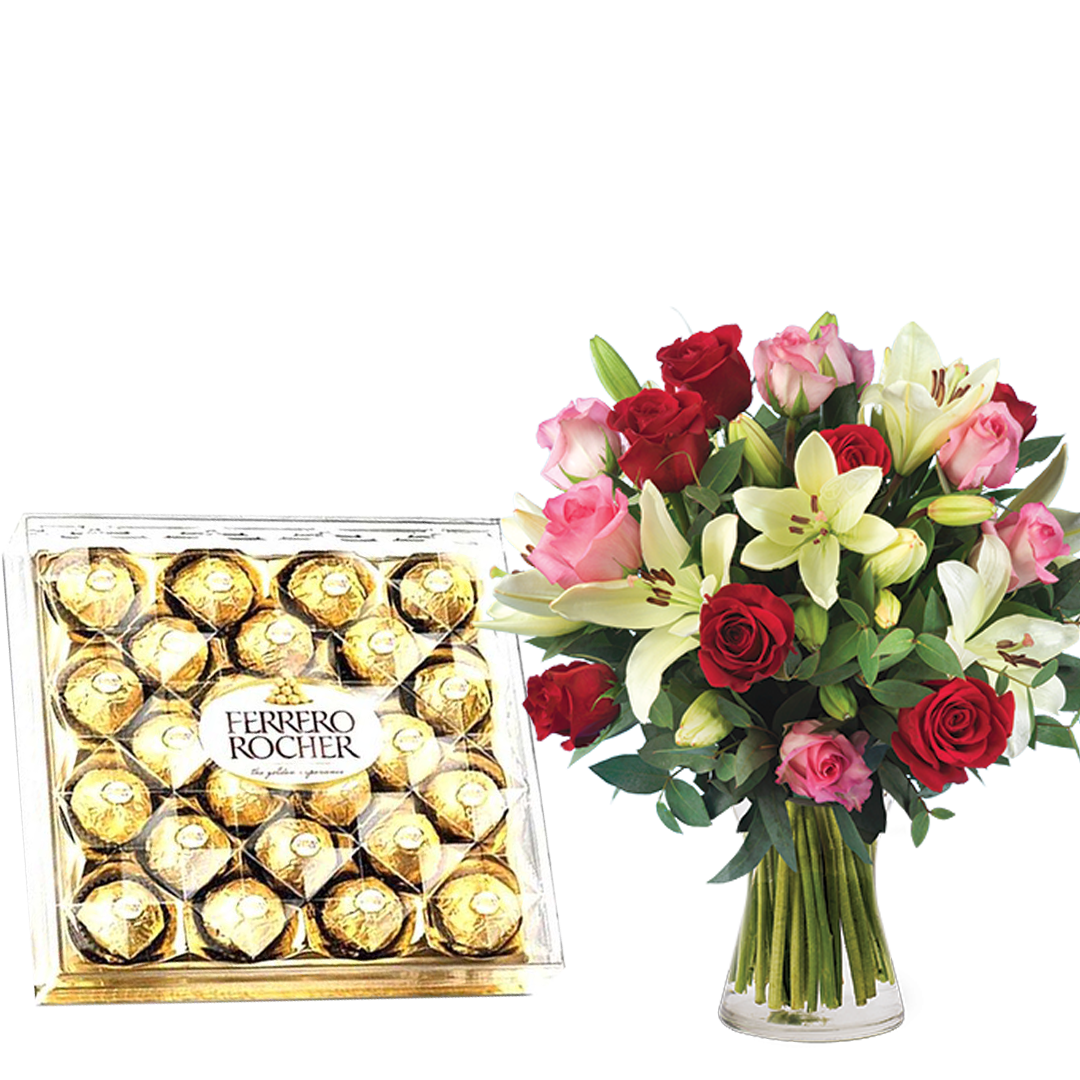 Love Cocktail-Roses and Lilies & Ferrero Rocher