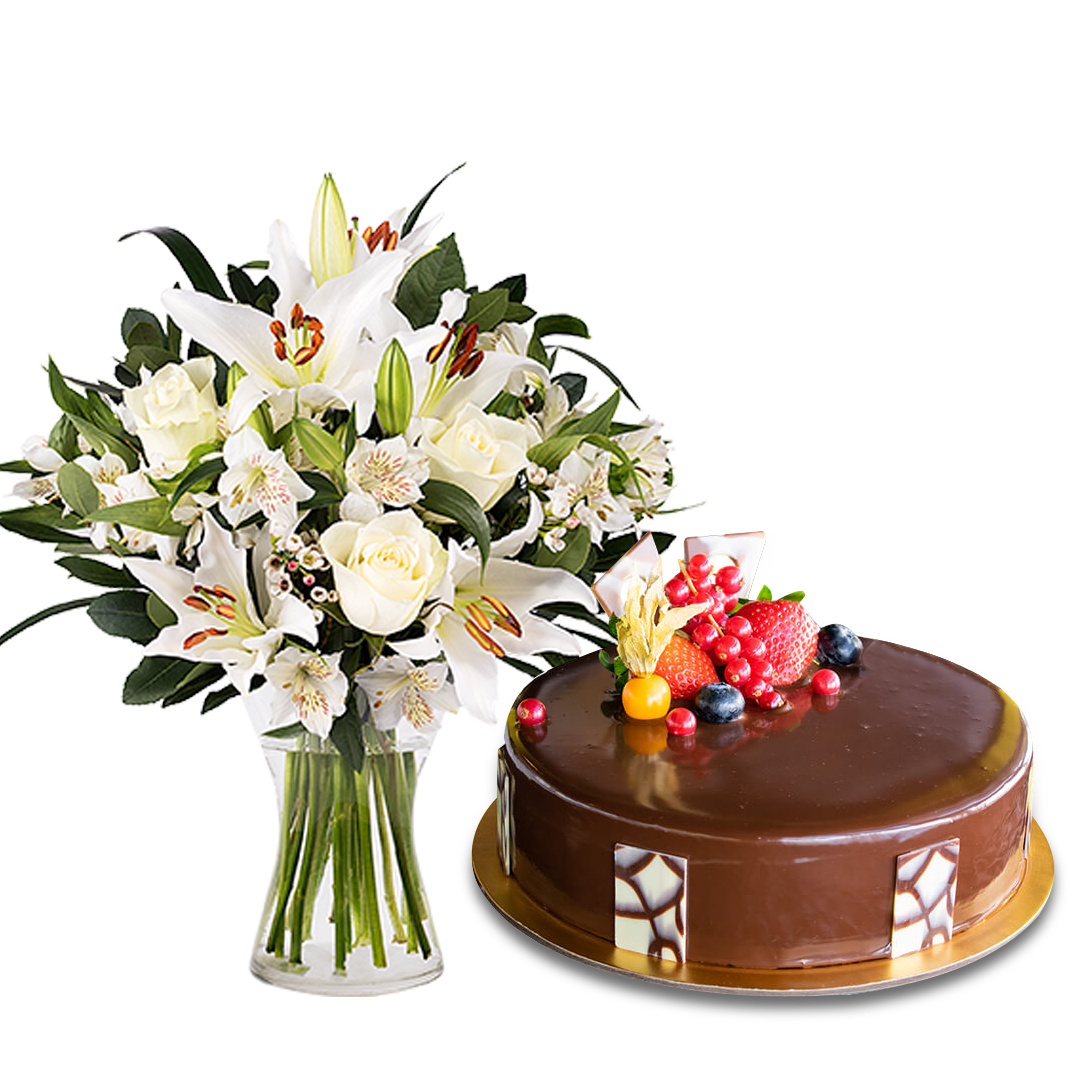 Choco Truffle &  Innocent Love with Lilies and Roses