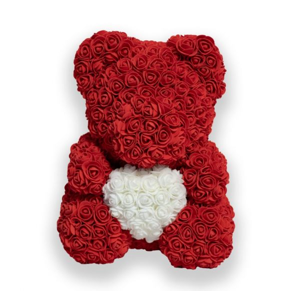 Red Rose's bear with white heart