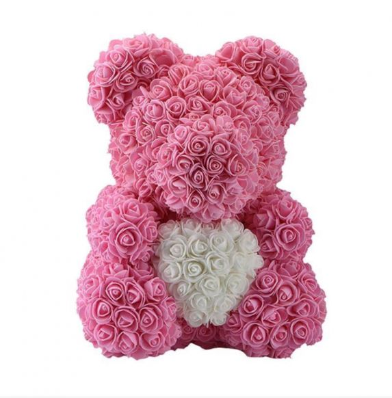 Pink Rose's Bear With White Heart