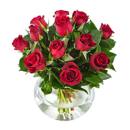 12 Red Roses in a Glass Fishbowl