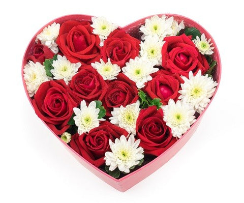 Red Roses & White Chrysanthemum Heart Box - Arabian Petals