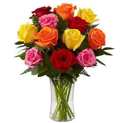 Flowers - Dozen Mix Roses In A Glass