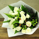 Fresh White Rose Bouquet - Arabian Petals