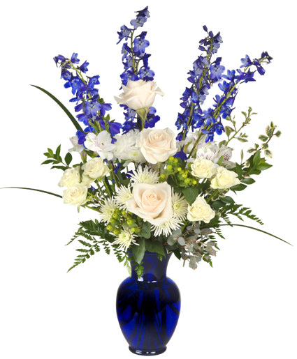 Special White Roses with Blue Flowers - Arabian Petals