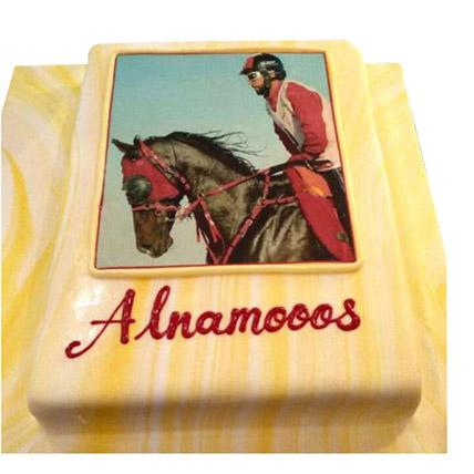 Horse Racing Photo Cake - Arabian Petals