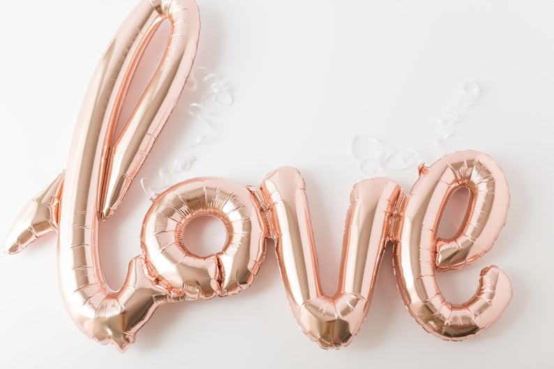 LOVE Balloon Rose Gold