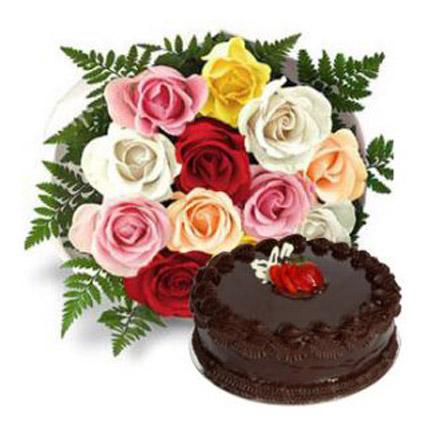 Multi Roses with Fudge Cake - FWR - Arabian Petals