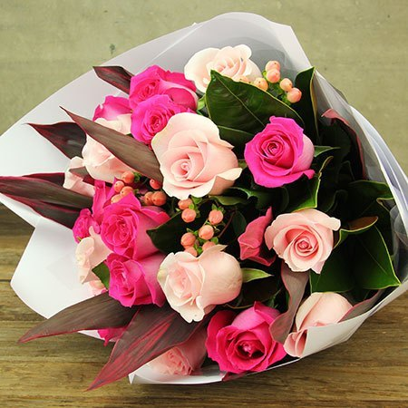 Pink Rose and Berry Bouquet - Arabian Petals