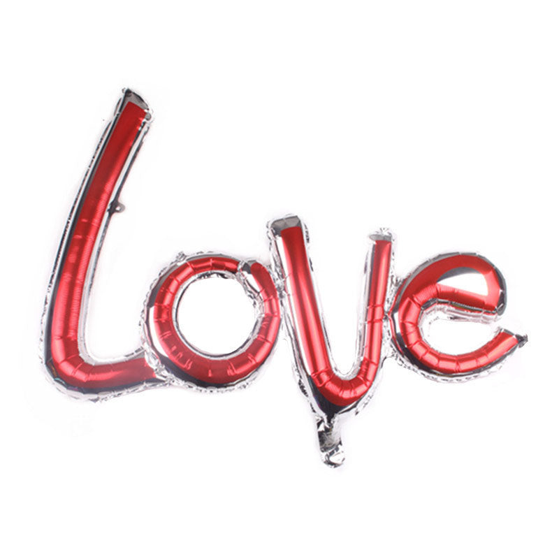 Red Love Script Foil Balloon
