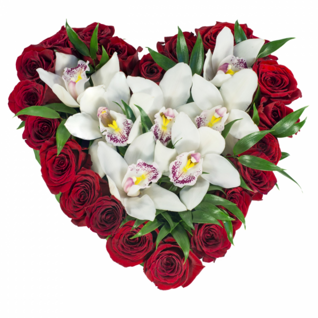 Red Roses  With White Cymbidium- Heart Shape Box