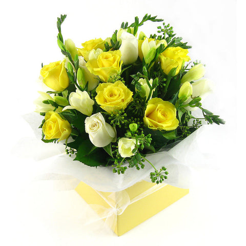Roses and Freesias boxed - Arabian Petals