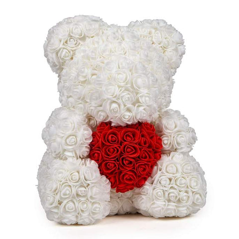White Rose's bear with red heart - Arabian Petals