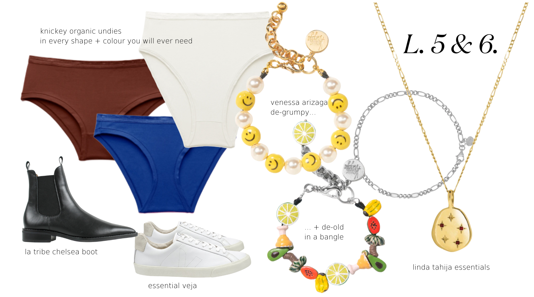 layers 5 and 6, shoes and accessories for cool menopause dressing includes jewellery by venessa arizaga, linda tahija and arms of eve. shoes by veja and la tribe