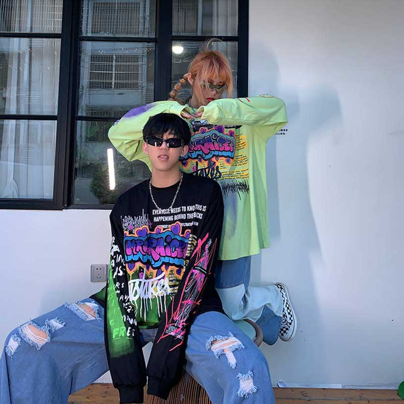 Korean Punk Oversized T-shirts