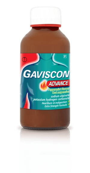 A bottle of Gaviscon Advance 300ml Liquid Peppermint