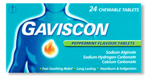 A pack of Gaviscon Original Peppermint Flavour Tablets