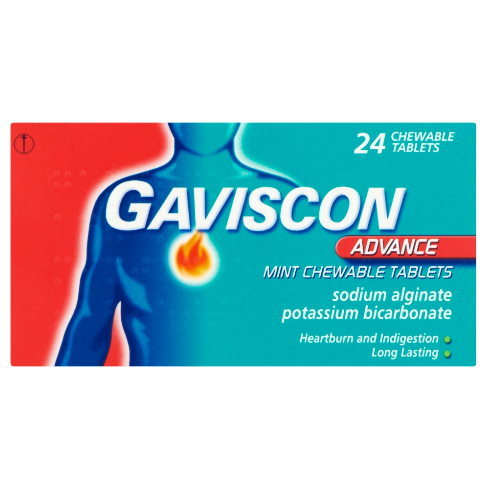 A pack of Gaviscon Advance Mint chewable tablets