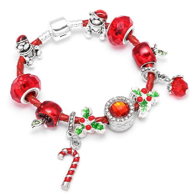 Red Leather Charm Bracelet
