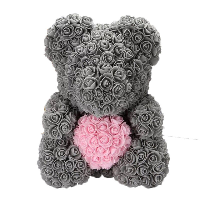 40cm Artificial Rose Teddy Bear