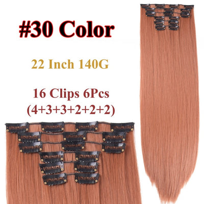 16 Colors 16 Clips Long Straight Synthetic Hair Extensions Clips in High Temperature Fiber Black Blonde Hairpiece