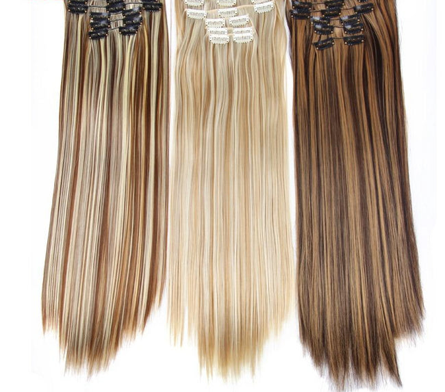 Long Straight Synthetic Hair Extensions Clips